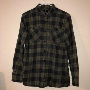 LOST ENTERPRISES Olive Green Plaid Flannel Shirt S